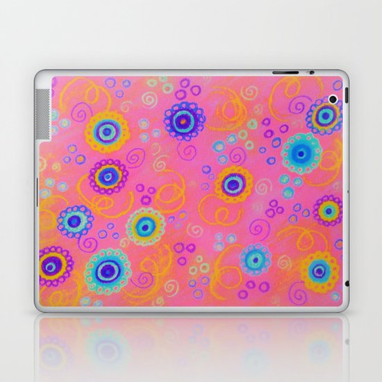 RASPBERRY FIZZ - Sweet Pink Fruity Candy Swirls Abstract Watercolor Painting Bright Feminine Art Laptop & iPad Skin