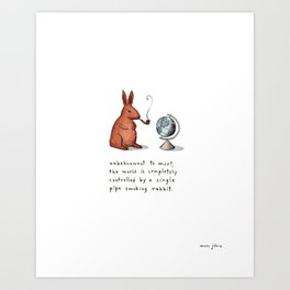 Pipe-smoking rabbit Art Print