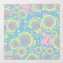 Pastel colored daisies Canvas Print