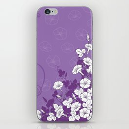 White Morning Glory Flowers with Purple Accents iPhone Skin