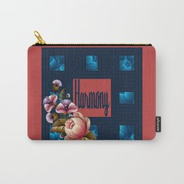 Peach Peonies in Blue Carry-All Pouch