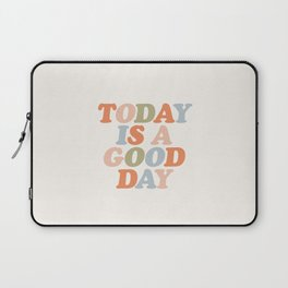 TODAY IS A GOOD DAY peach pink green blue yellow motivational typography inspirational quote decor Laptop Sleeve