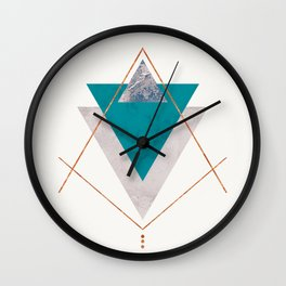 TEAL COPPER AND BLUSH GEOMETRIC Wall Clock