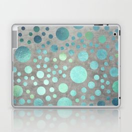 Turquoise Metallic Dots Pattern on Concrete Texture Laptop & iPad Skin
