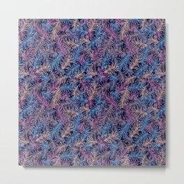 Ultraviolet Pine Leaves pattern Metal Print