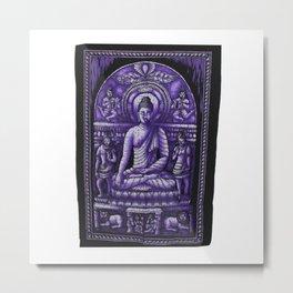 Vintage art Buddha Meditation Purple Batik Wall Hanging Metal Print