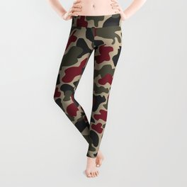 CUSTOM ARMY & BURGUNDY CAMO 5 Leggings