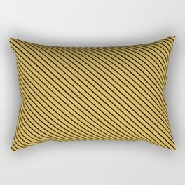 Spicy Mustard and Black Stripe Rectangular Pillow