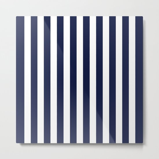 Stripe Vertical Navy Blue Metal Print