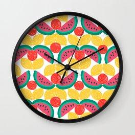 citrus watermelon stripe Wall Clock