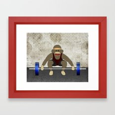 Sock Monkey Bodybuilder Framed Art Print