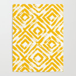 Amber Yellow Geometric Print Poster