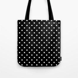 Licorice Black with White Polka Dots Tote Bag