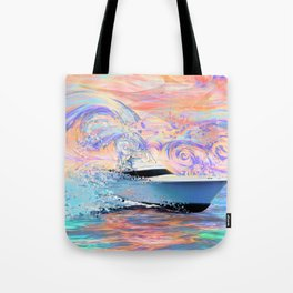 Sport Fishing yacht pixel Impression Tote Bag