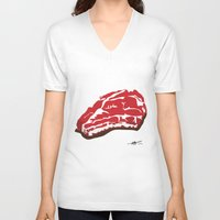 meat V-neck T-shirts featuring meat by Takeru Amano