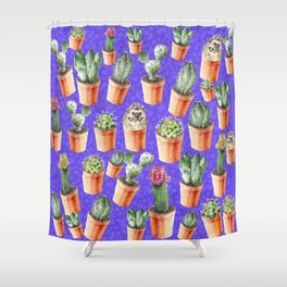Cactus pattern watercolor Shower Curtain