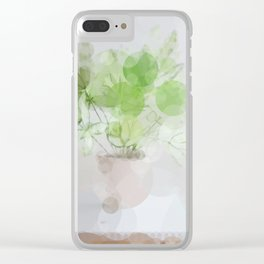 Eucalyptus Green Leaves Clear iPhone Case