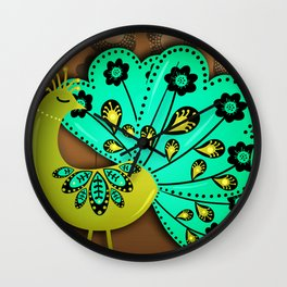 A Pair Of Copper Peacocks Wall Clock