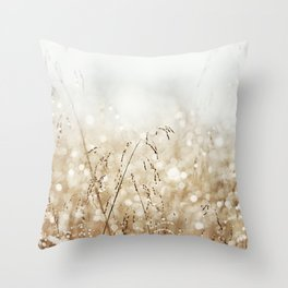 Dewdrop Nature Photography, Neutral Dew Drop, Gold White Brown Beige, Cream Water Drops Throw Pillow
