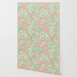 Tropical Palm Leaves Hibiscus Flowers Coral Green Wallpaper