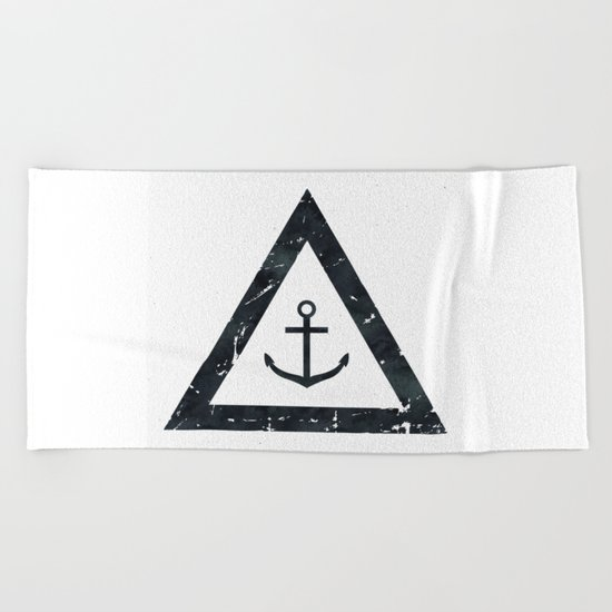 Vintage Anchor Black and White Beach Towel