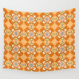 Mehndi design. Raster illustration. Curved doodling in orange, white and yellow colors. Tracery seamless pattern. Ethnic binary doodle texture. Wall Tapestry