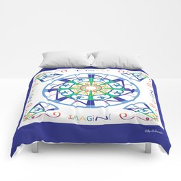 Imagine from the Inside - White/Blue Comforters