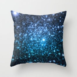 Galaxy Sparkle Stars Periwinkle Blue Turquoise Ombre Throw Pillow