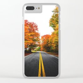 autumn road Clear iPhone Case