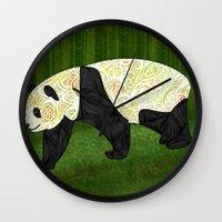 panda Wall Clocks featuring Panda by Ben Geiger