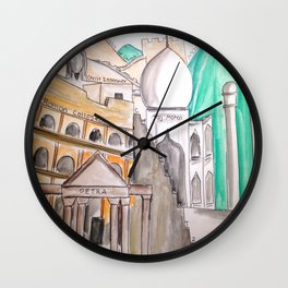 Seven Wonders Of The World Wall Clock