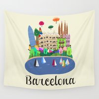 barcelona Wall Tapestries featuring Barcelona  by uzualsunday