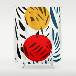 Yellow and Red Abstract Art Graphic Design Shower Curtain