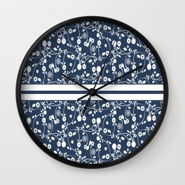 Country Flowers in Blue Cottage Chic Pattern Wall Clock