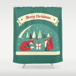 Christmas Foxes Shower Curtain