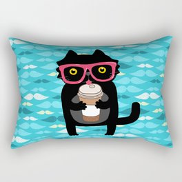 Black cat + coffee Rectangular Pillow