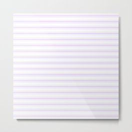 Chalky Pale Lilac Pastel and White Wide Mattress Ticking Stripes Metal Print