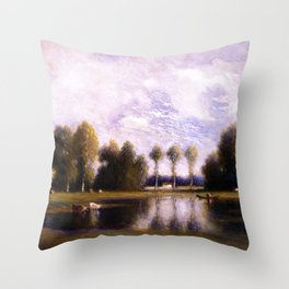 Trois Pignons and Fontainebleau Forest, Paris, France landscape by Gilbert Munger Throw Pillow