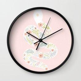 White Flower Snake Wall Clock