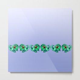 Tadpole Monster in Green Metal Print