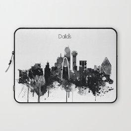 Dallas TexasBlack White Skyline Poster Laptop Sleeve