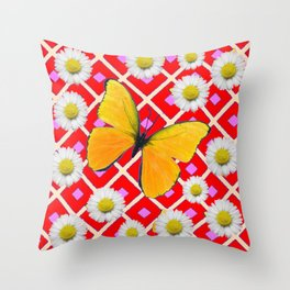Red Color Shasta Daisys & yellow butterfly Pattern Garden Art Throw Pillow