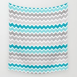 Turquoise Teal Blue Gray Chevron Wall Tapestry