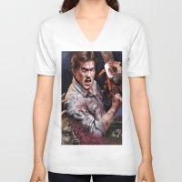 evil dead V-neck T-shirts featuring Ash Evil Dead by John Mungiello
