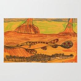 Painted Gar & Alligator Rug