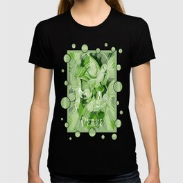 Dove With Celtic Peace Text In Green Tones T-shirt