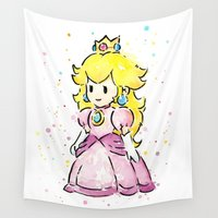 peach Wall Tapestries featuring Princess Peach by Olechka