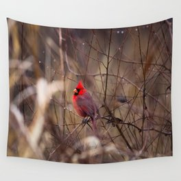 Cardinal - Bright Red Male Bird Rests in Raindrops Wall Tapestry