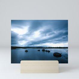 Dark Blue Tranquil Lake in Iceland Mini Art Print