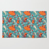 dumbo Area & Throw Rugs featuring Dumbo Octopi & Squid - Blue by Amy Jeanne WPG